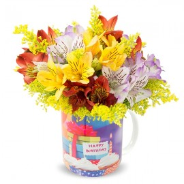 Flores na Caneca - Happy Birthday